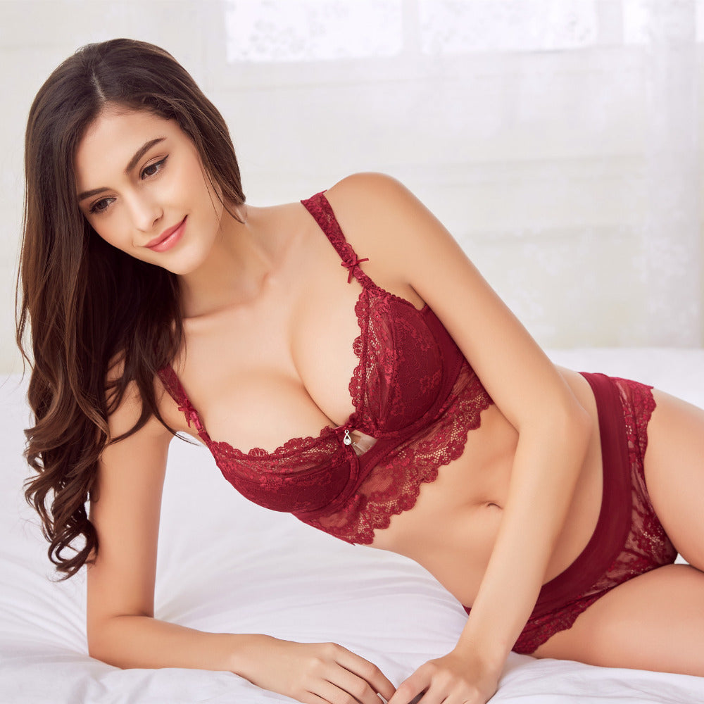 Sexy Lace Embroidery Push Up Bra and Panty Set