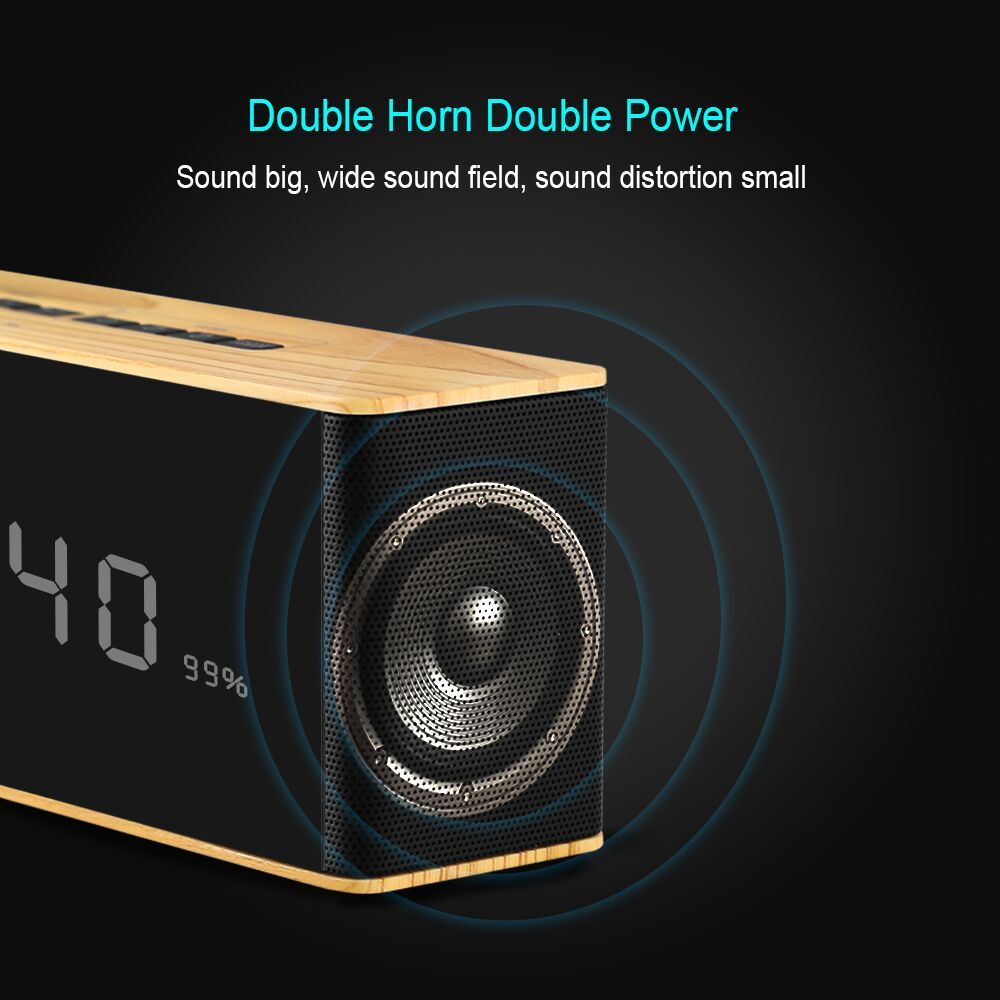 Portable Bluetooth Speaker With LED Time Display Clock Alarm
