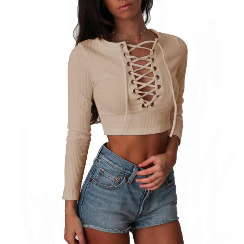 Casual Long Sleeve Laced Up Criss Cross Short Women Crop Top