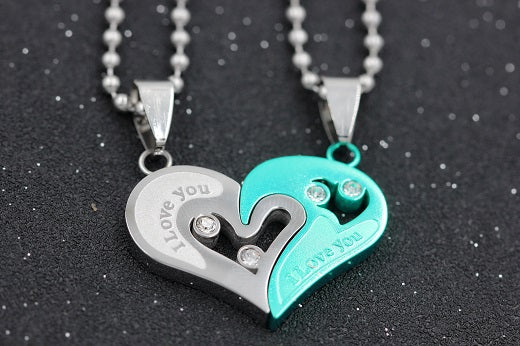 Cute Stainless Steel Heart Love Paired Suspension Chain Necklaces For Couples