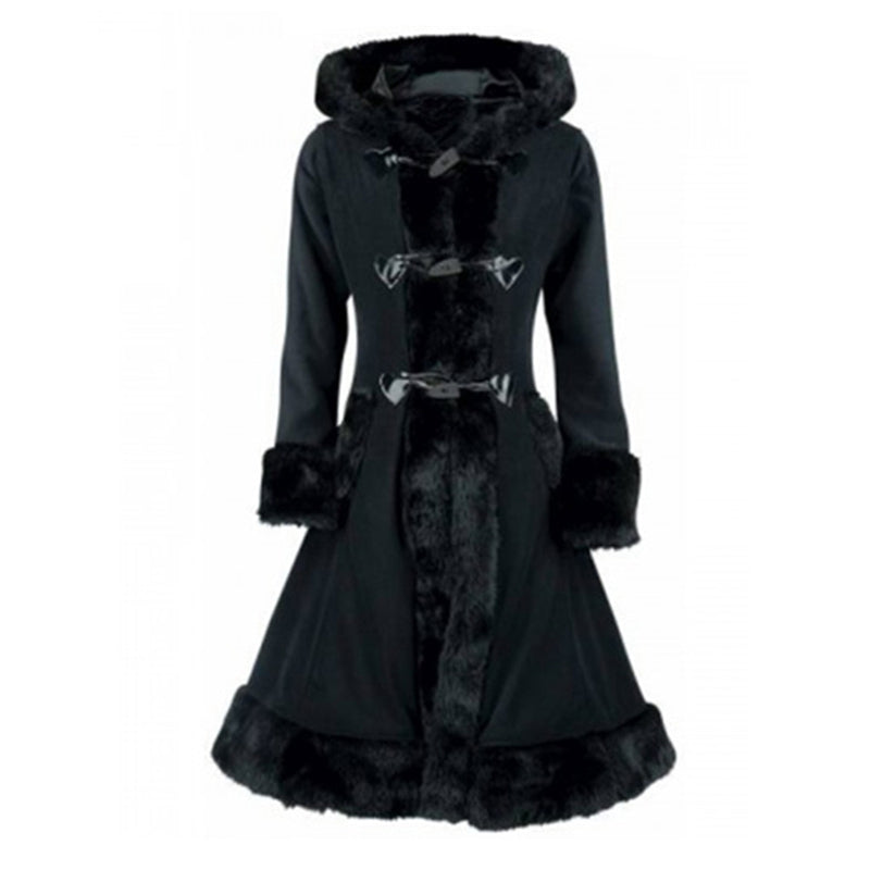 Warm Full Sleeve Lace Up Wool Women Black Long Coat