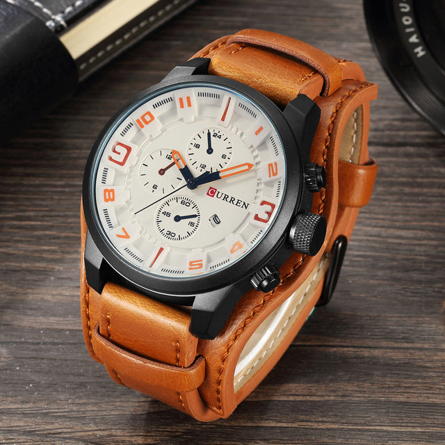 Luxury Leather Army Military Mens Quartz Wristwatch