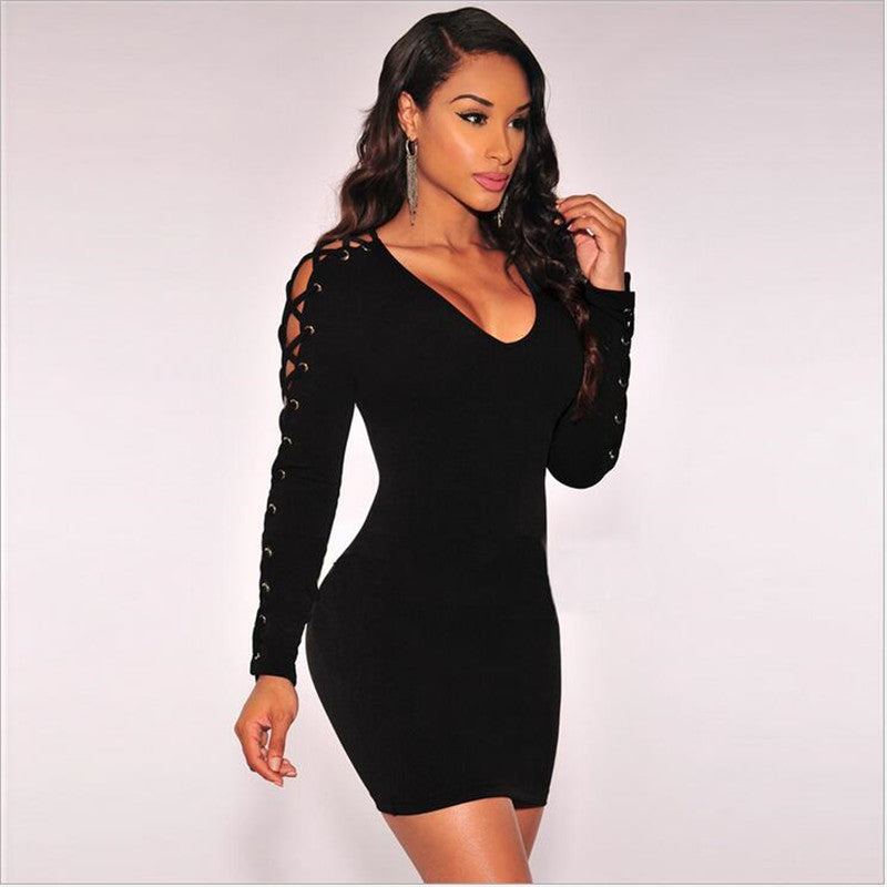 Bodycon Bandage Criss Cross Lace Up Black Mini Black Dress