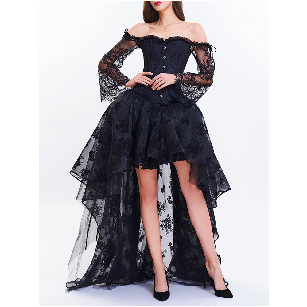 A-Line Flare Sleeve High Low Two Piece Corset Lace Black Dress
