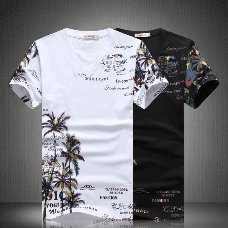 Chinese Style Coconut Island Printing Summer Men Short Suit Set