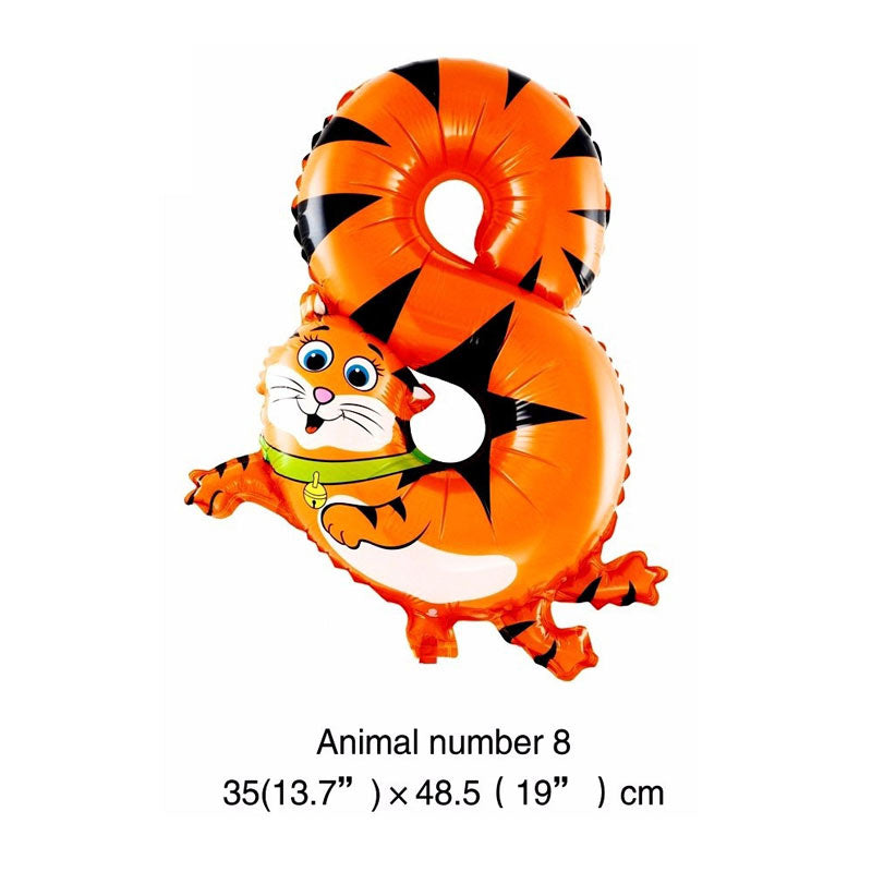 Cool Animal Cartoon Number Foil Inflatable Air Balloon