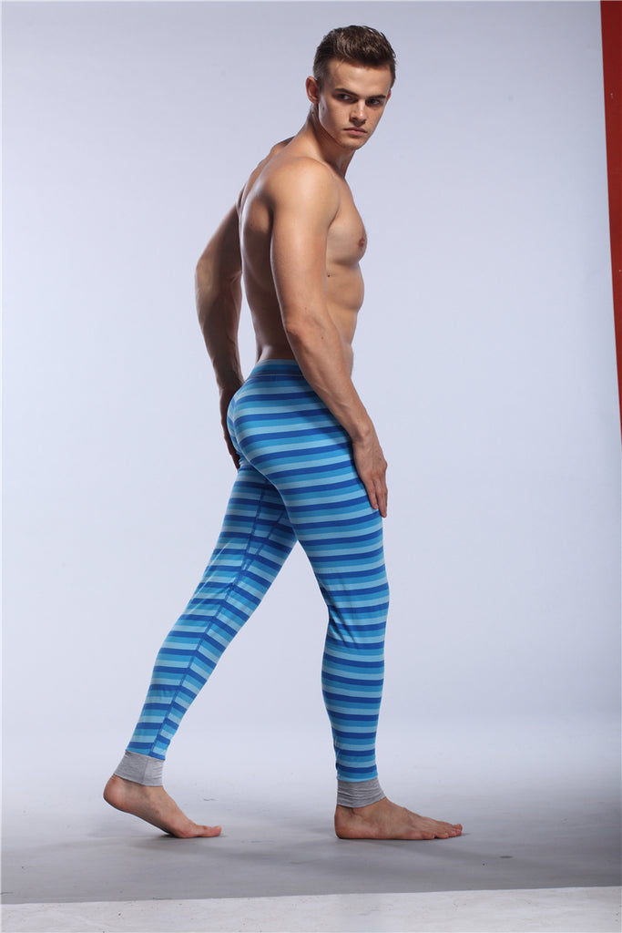 Casual Striped Men's Cotton Thermal Underwear Camouflage Long John