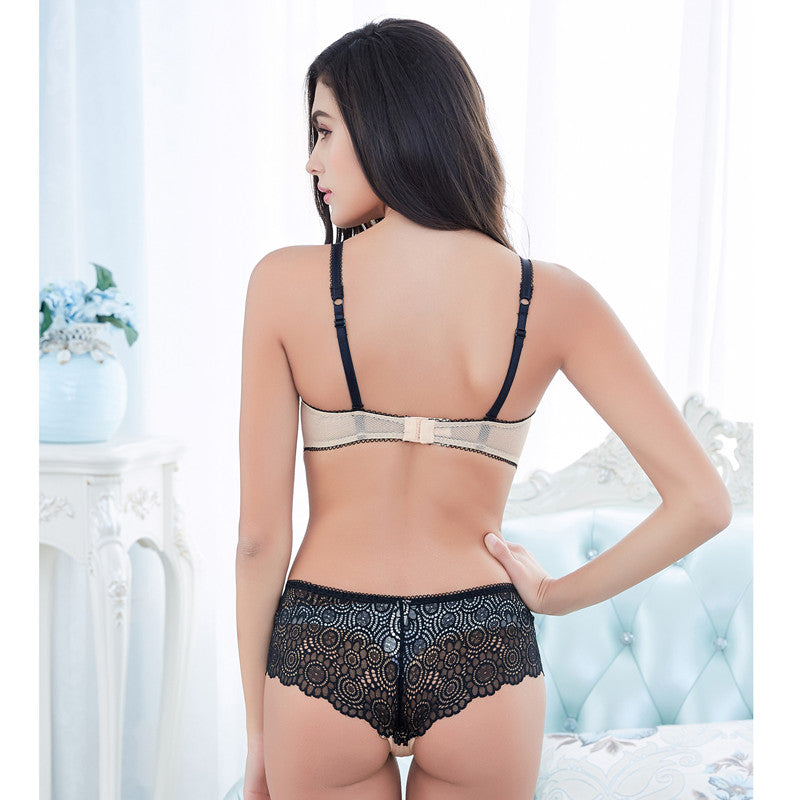 Luxury Floral Embroidery Lace 1/2 Cup Push Up Bra & Brief Sets
