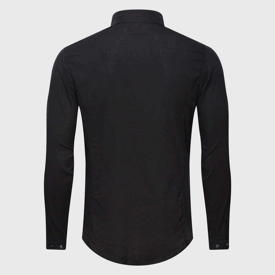 Long Sleeve Ultrathin See Through Shirts, Half Collar Cotton