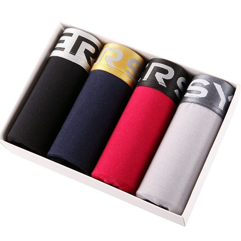 4Pcs/Lot Soft Solid Color Cotton Men Boxer Shorts