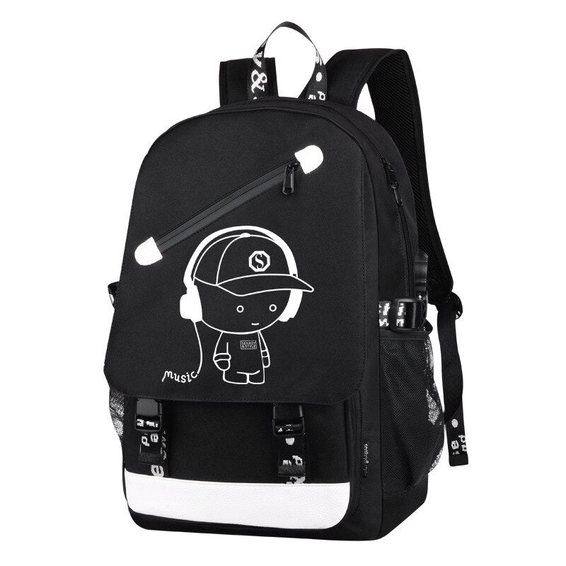 Big Capacity Waterproof Luminous Cartoon School Backpack For Teenagers