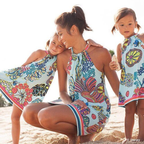 Floral Printed Sleeveless Mommy & Me Hanging Skirt Beach Matching Dress