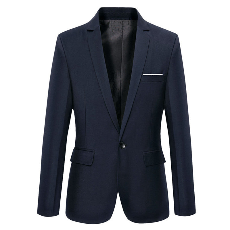 Classic Single Breasted Solid Color Cotton Men Blazer