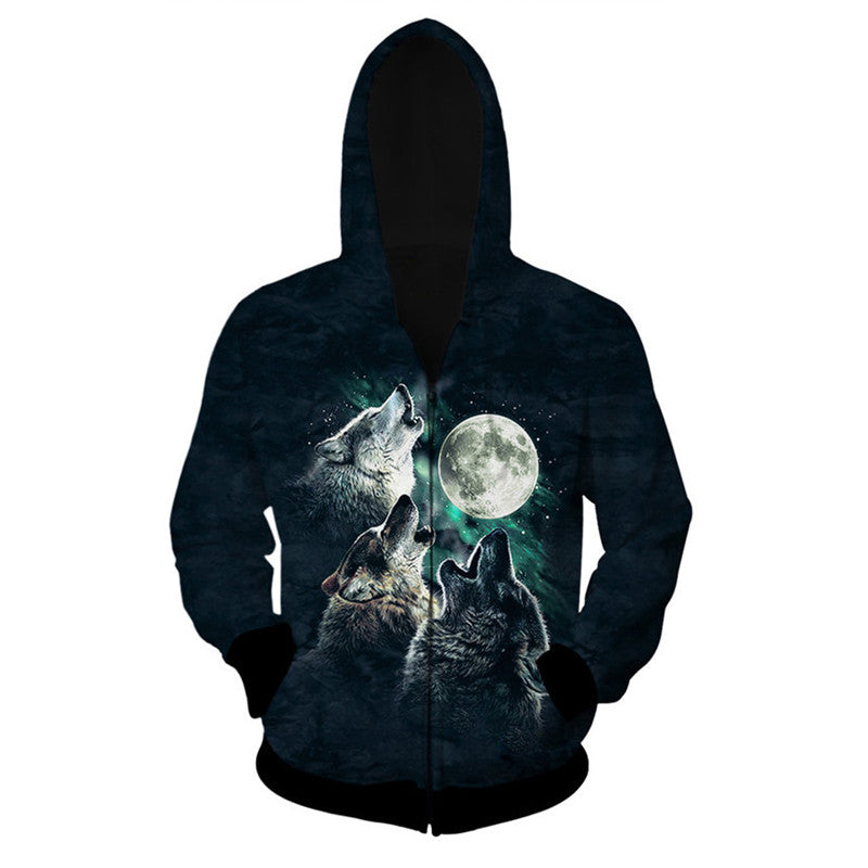 Fashion Wolf Printing Zip Down Hooded Men Sweatshirt