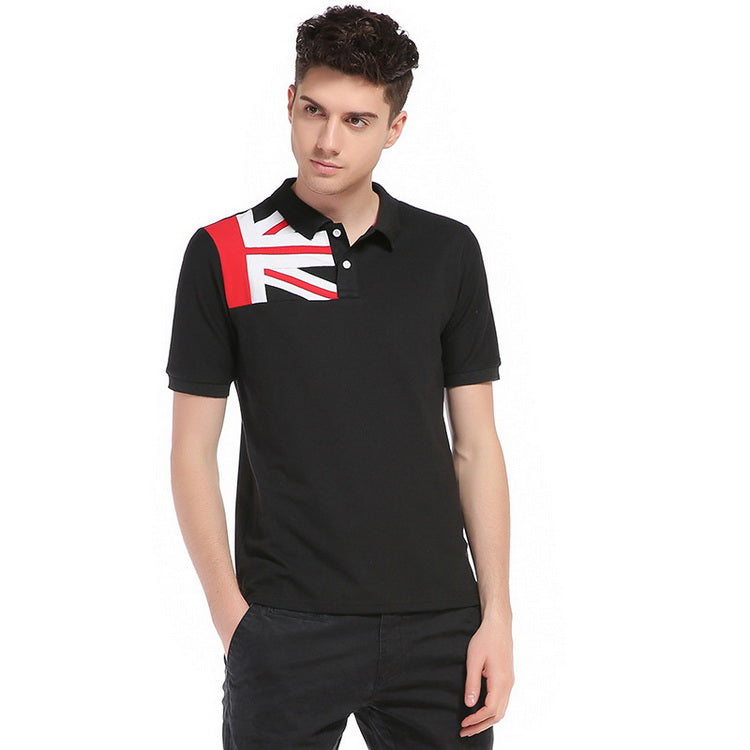 Breathable Patchwork Short Sleeve Slim Fit Men Polo Shirt