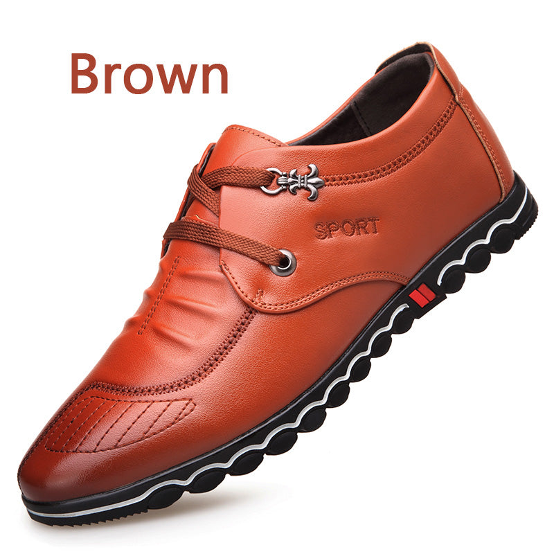 Breathable Comfortable Super Fiber Soft Leather Men's Flat Shoes