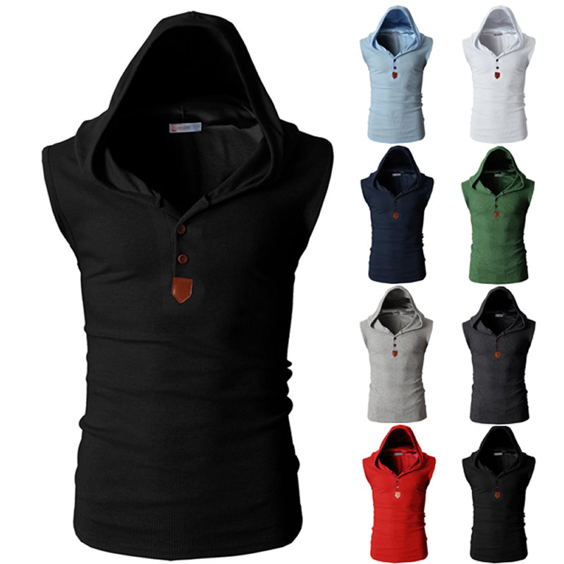 Hip Hop Style Sleeveless Hooded Slim Fit Men Sweatshirt