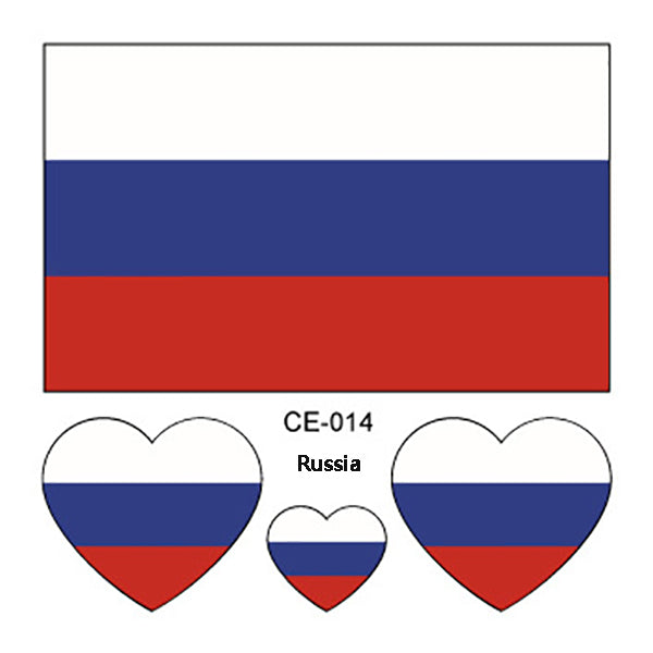 10PCS Waterproof Russia 2018 World Cup Flag Tattoo Stickers