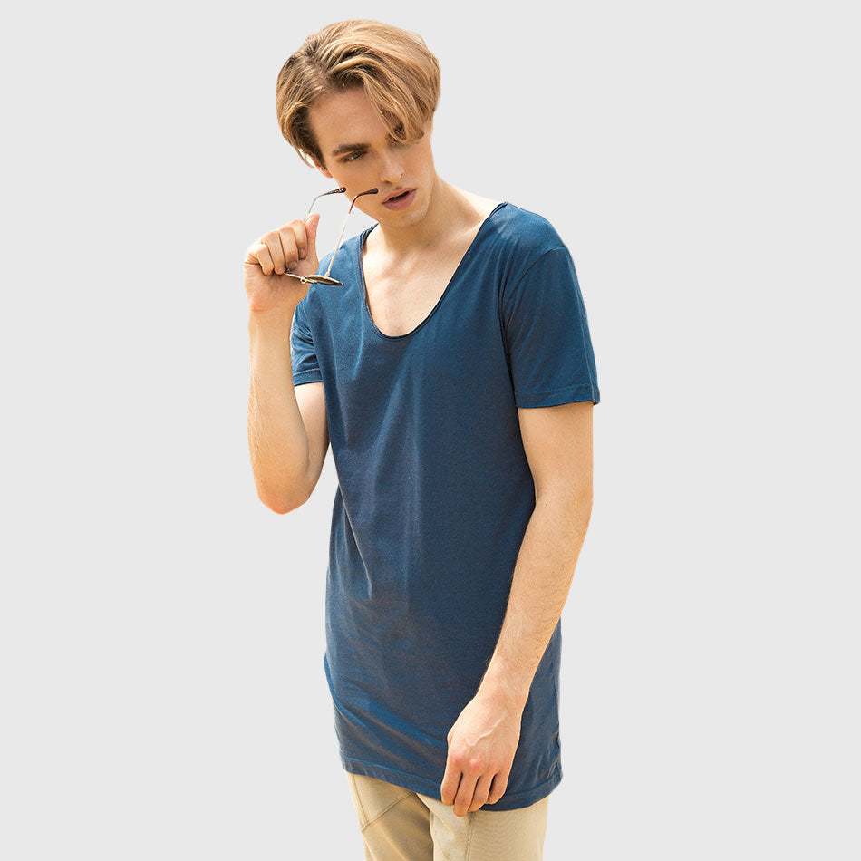 Longline V-Neck Short Sleeve Casual Plain T-Shirt