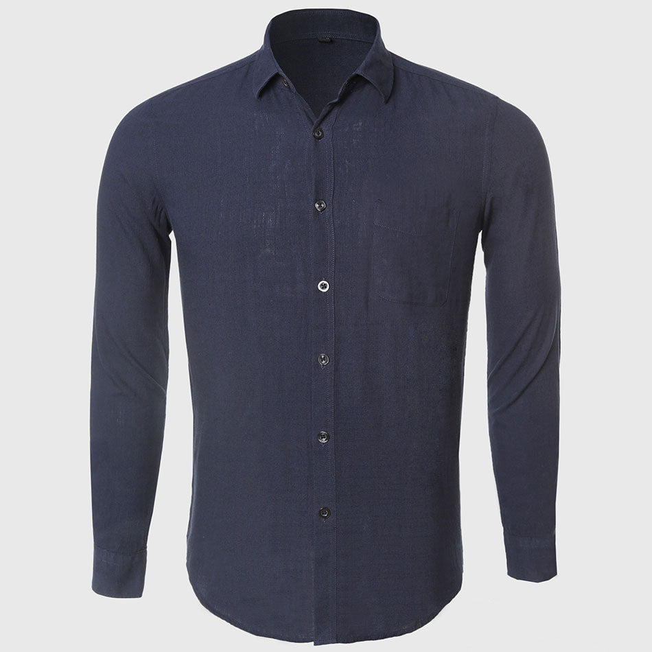 Long Sleeve Male Slim Fit Style Cotton Linen Casual Shirt
