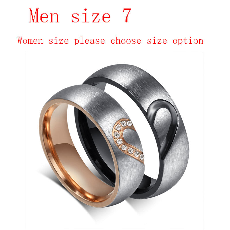 Romantic His & Hers Couples Love Heart Wedding Promise Rings Set