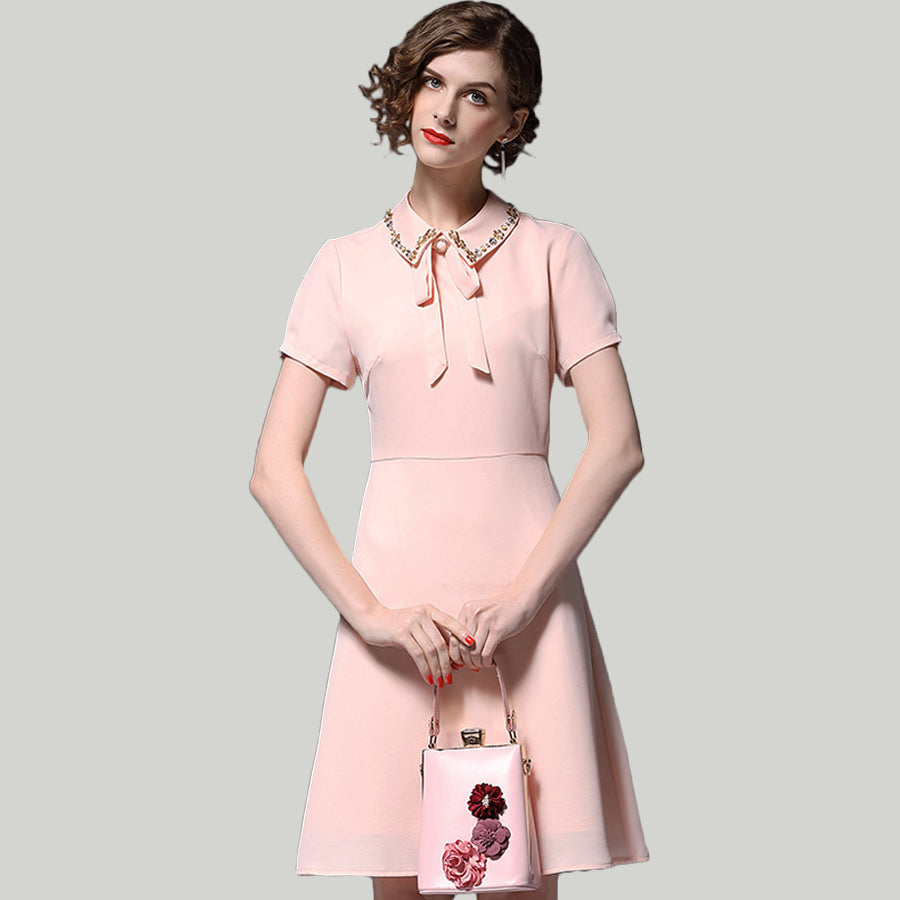 Luxury Vintage Peter Pan Collar Bow Beading Office Pink Dress
