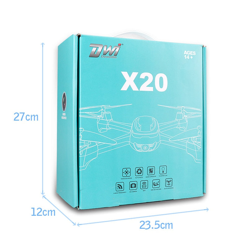 RC Quadcopter Drone with Camera HD 2MP 720P Altitude Hold WiFi FPV Drone Phone iPad WiFi Control 120 Degree Wide Angle Lens X20