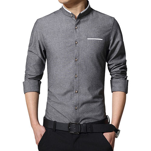 Casual Long Sleeve Mandarin Collar Slim Fit Business Shirt