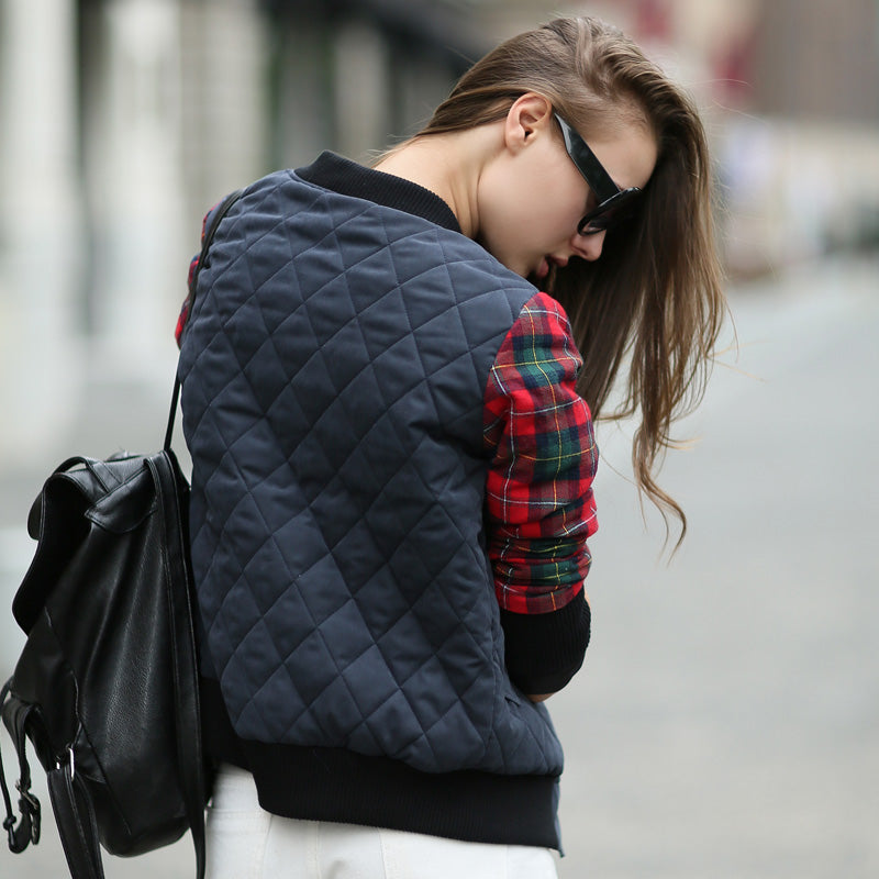 British Style Patchwork Plaid Women's Bomber Jacket