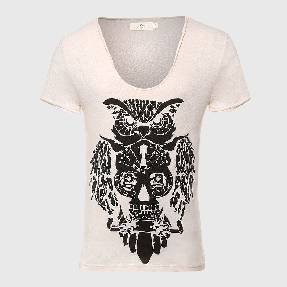 Cool Owl Print Designer Deep V-Neck T-Shirts