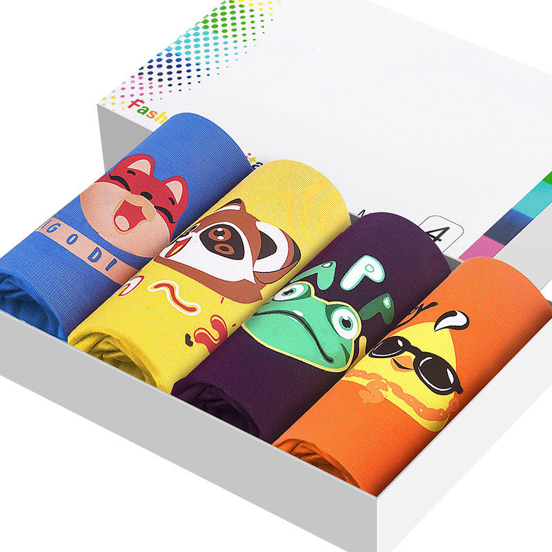 4Pcs/Lot Cartoon Printed Modal Mens Boxer Shorts