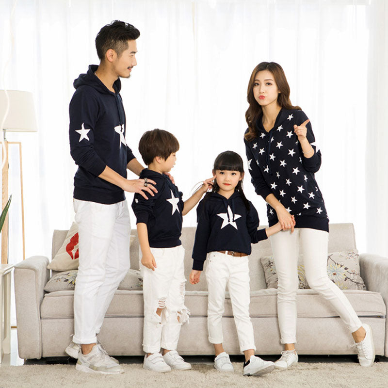 Long Sleeve Star Printing Cotton Family Matching Sweater