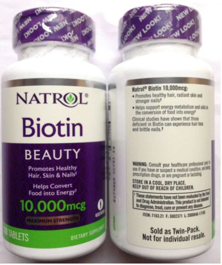 100 Pcs Biotin 10,000 mcg Maximum Strength