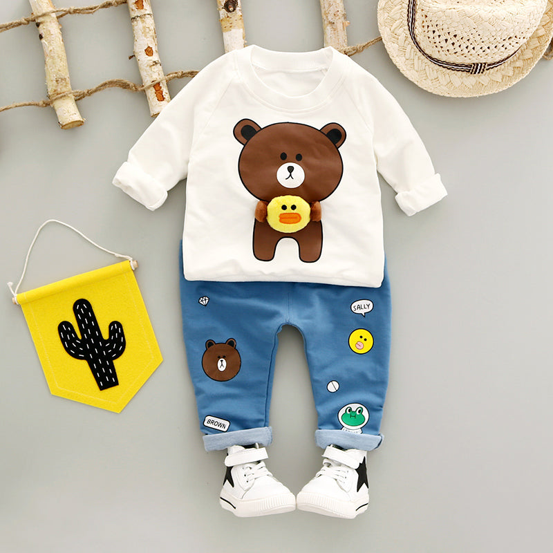 Fashion Cotton O-Neck Full Sleeve With Bear Print Boys Clothing Set
