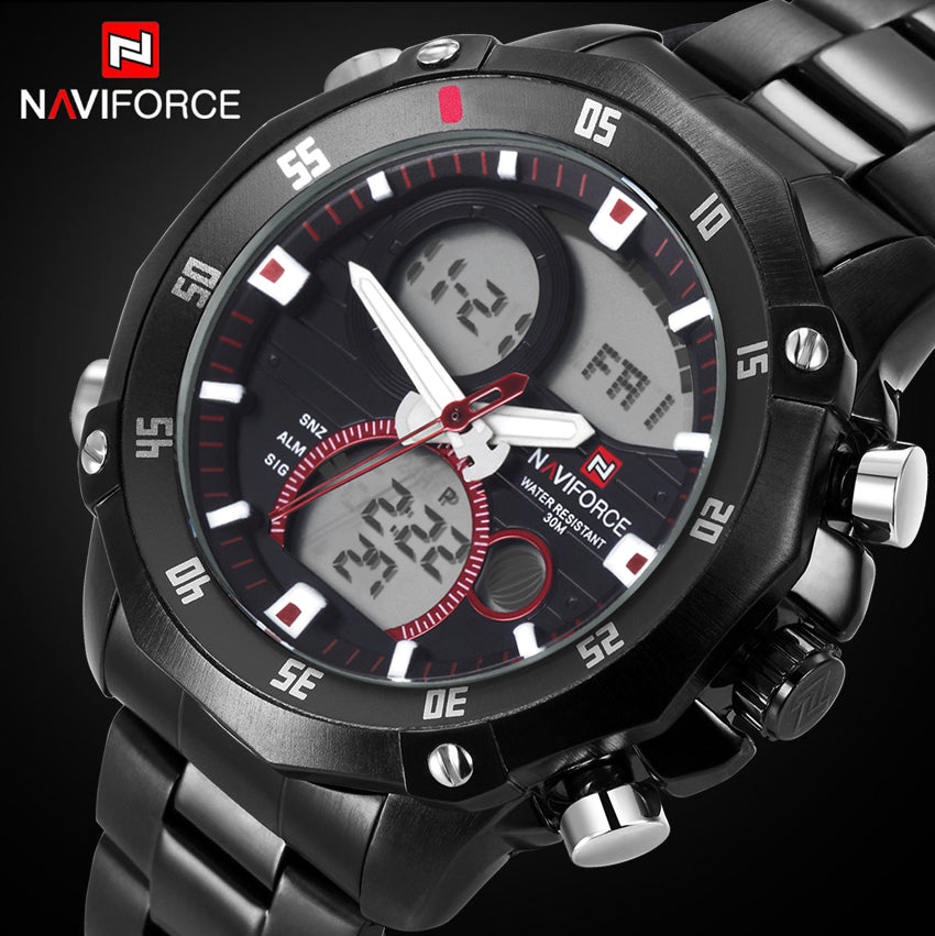 NAVIFORCE Luxury Solid Steel Rotary Dial Quartz Clock Digital LED Hours