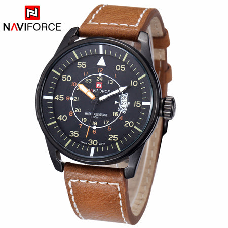 Fashion Luxury Top Brand NAVIFORCE Men Quartz Genuine Leather Watch with Date