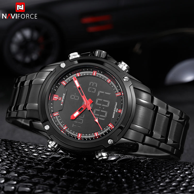 Full Steel Men Sport Quartz Digital Multi-function Watch
