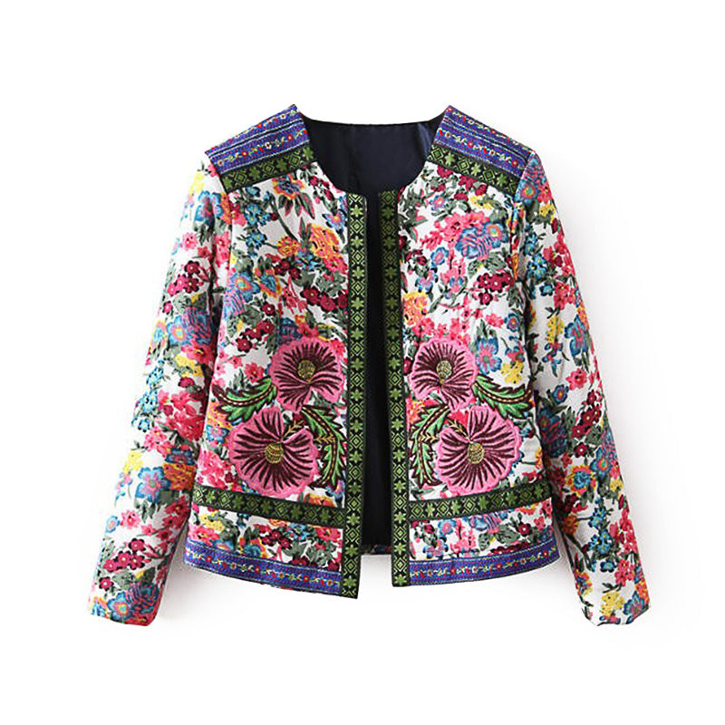 Ethnic Style Vintage Embroidery Flower Print Slim Women Jacket