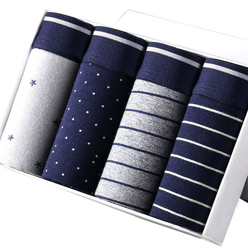 4Pcs\Lot Breathable Printed Cotton Mens Boxer Shorts