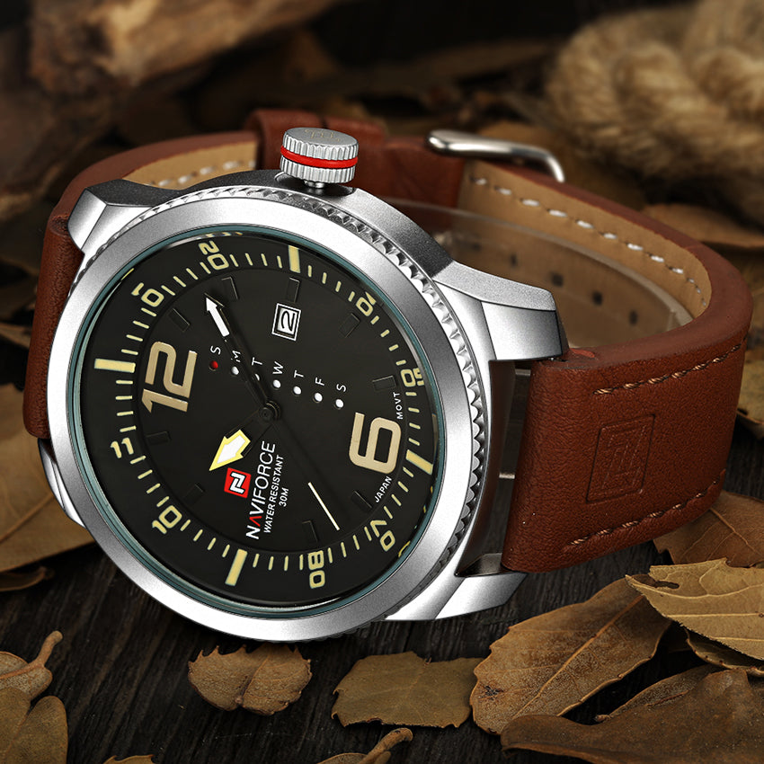 NAVIFORCE Luxury Men Military Leather Watches Quartz Analog