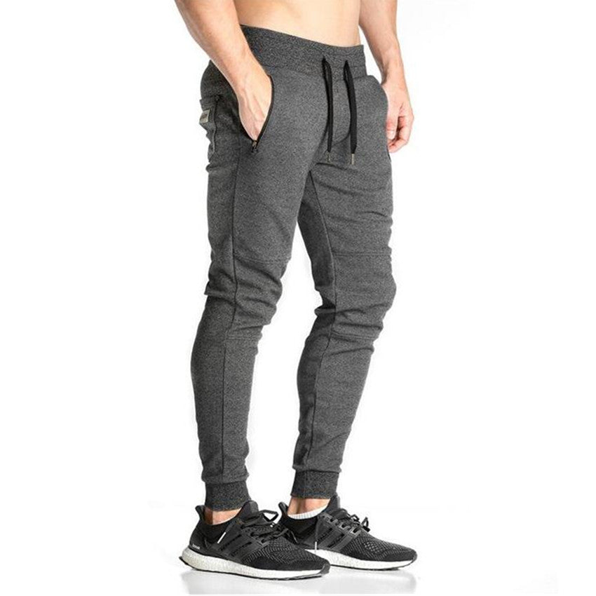 Elastic Waist Embroidery Cotton Mens Fitness Sweatpant