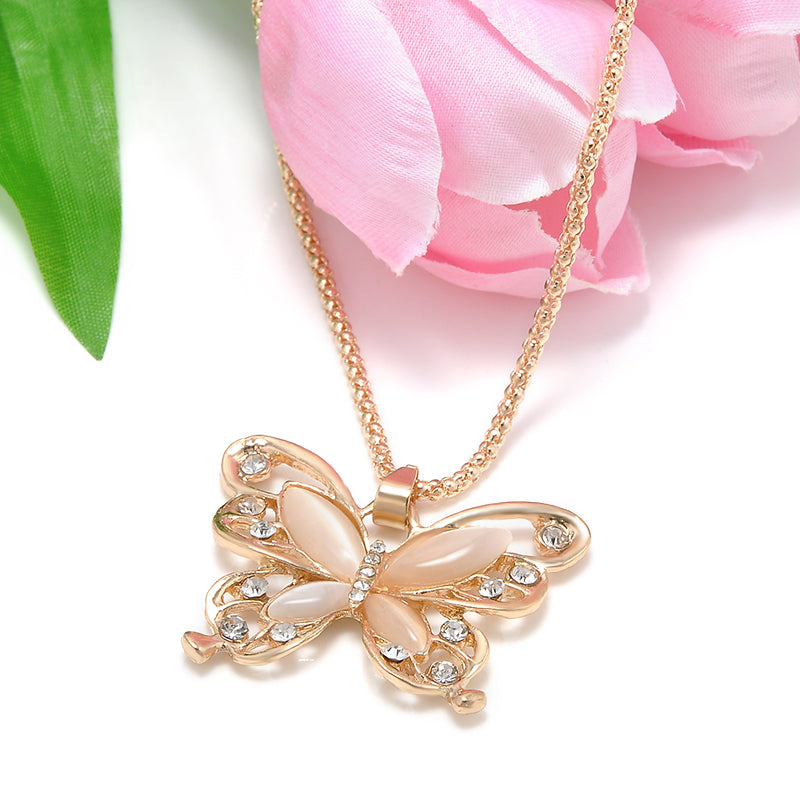 Rose Gold Acrylic Crystal Big Butterfly Long Chain Pendant Necklace
