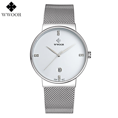 Luxury Brand Mesh Steel Strap Slim Case Men's Watch with Silver Plating