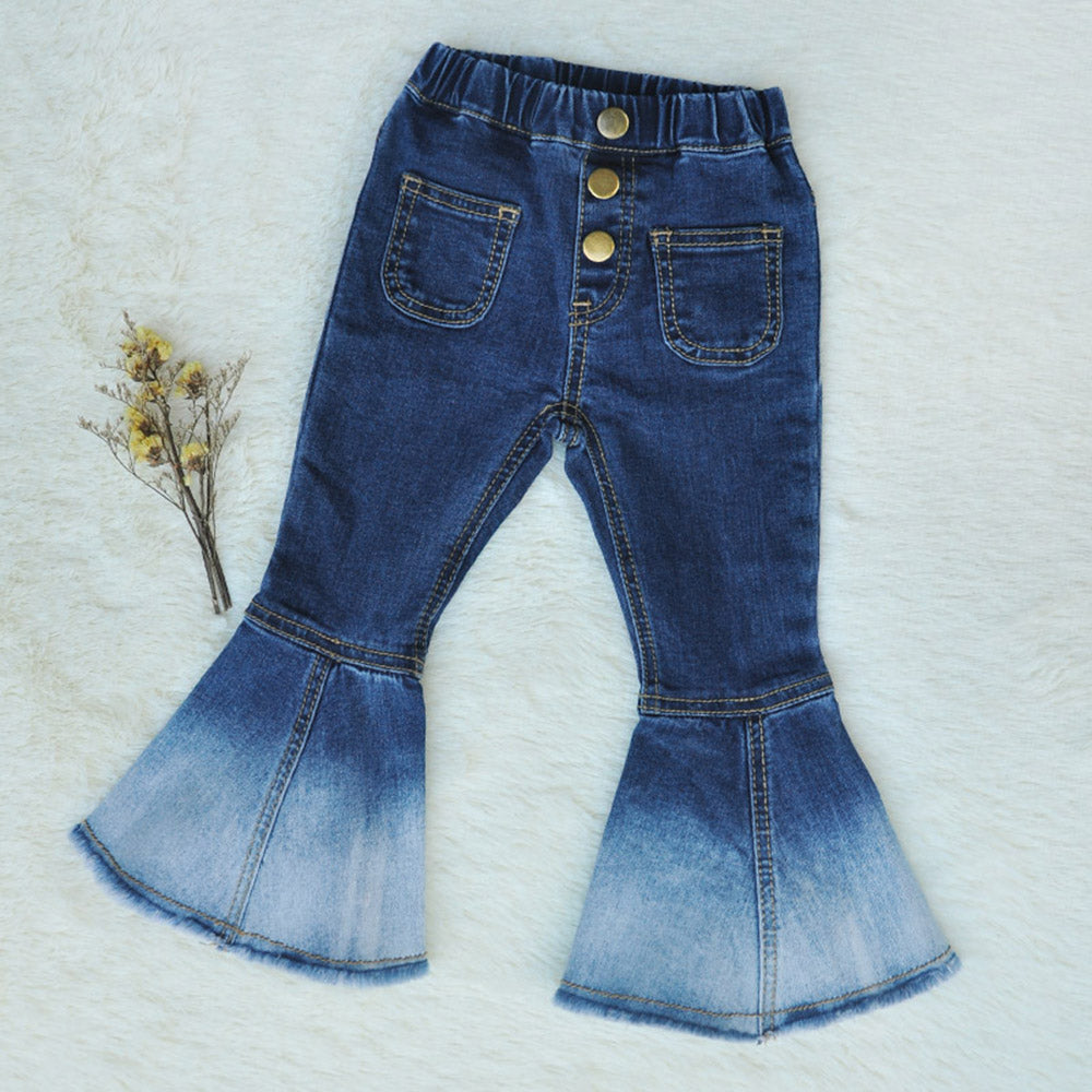1-10 Yrs Elastic Waist Washed Color Bell-Bottomed Girls Pant