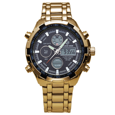 Full Steel Gold Plating Dual Display Watches