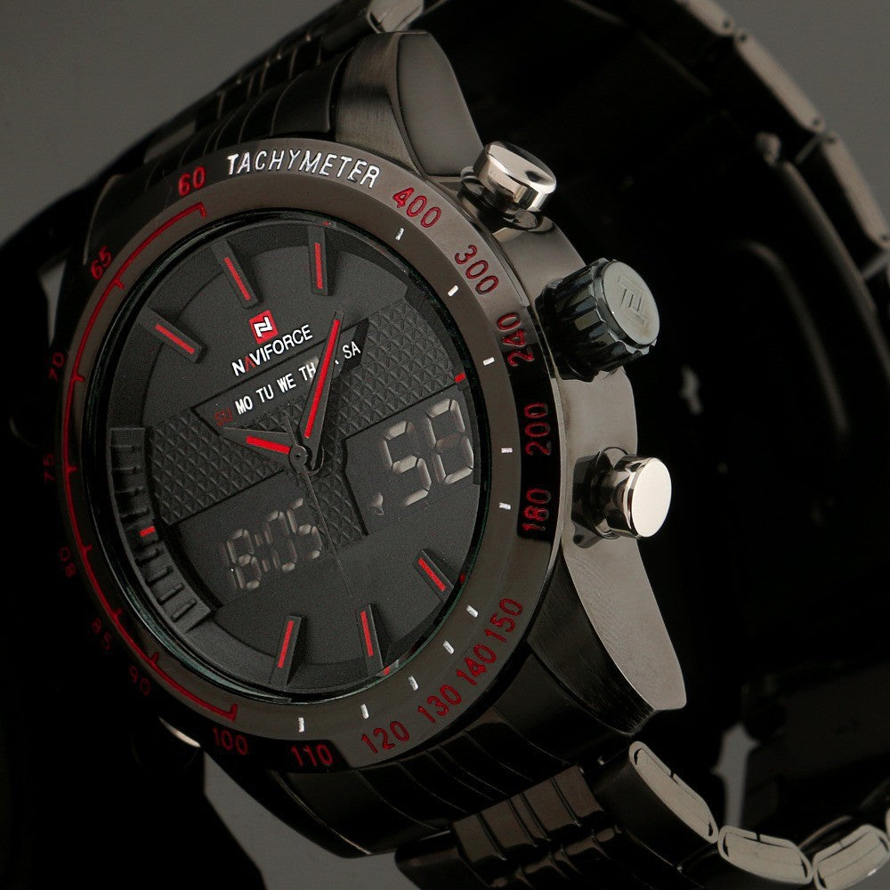 Hot Luxury Men Quartz Full Steel LED Watches with Chronograph