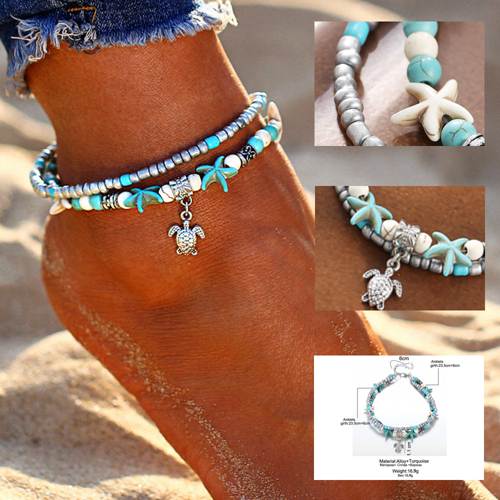 Vintage Handmade Bohemian Multi-Layer Shell Beads Starfish Anklets For Women