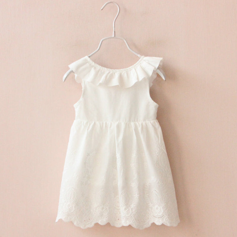 Fashion O-Neck Sleeveless White Girls Dress