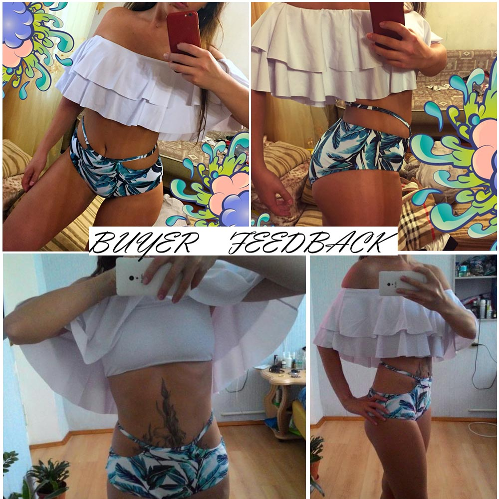 Vintage Patchwork High Waist Ruffle Striped Bandeau Bandage Bikini Set