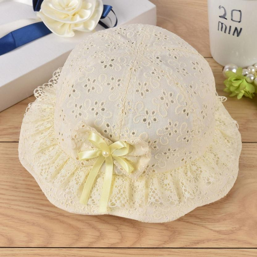 Cute Floral Embroidered Mesh Baby Girl Hat With Bow
